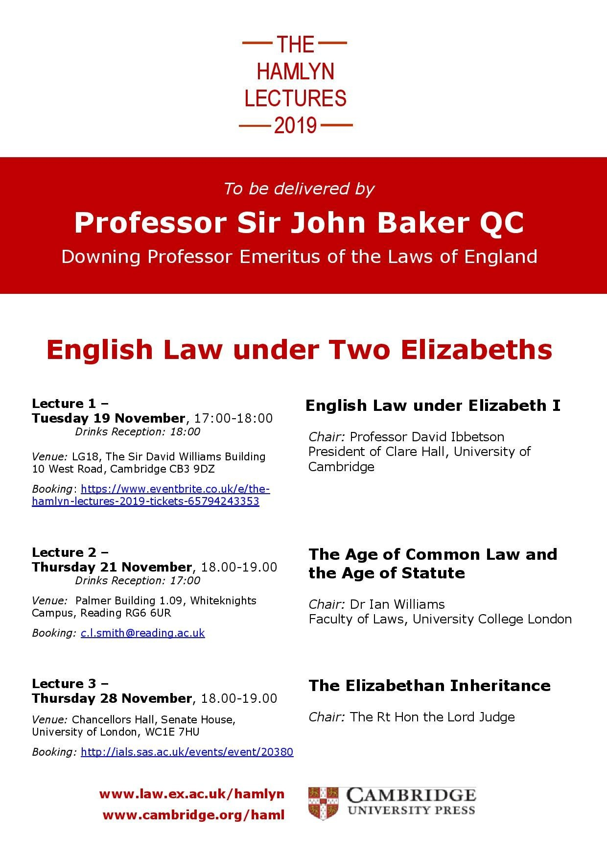 Law School at Exeter University - the Hamlyn Lectures 2019